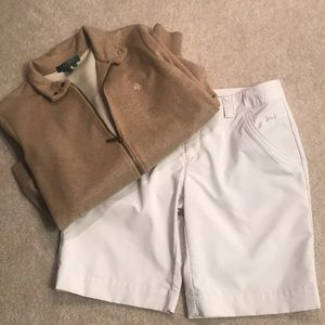 Under Armour golf shorts-white with tan striped